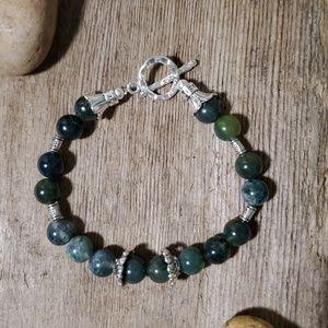 Silver Bracelet with Agate Gemstones
